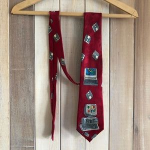 Red Vintage Computers & Floppy Disks Novelty Tie